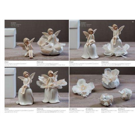 Sacchetto puffetto in raso in raso con fiore e perlina (091489-F)