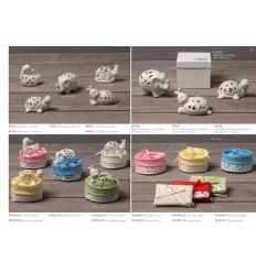 Portaconfett coni base tonda in cotone con passamaneria (91496)