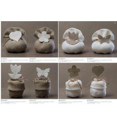 Sacchetto in juta beige con applicazione fiore bianco (091507-F)