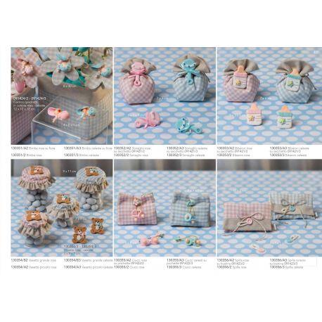Ciucci con fiorellino linea Sweet Baby con sacchetto pochette in cotone (130355-A)