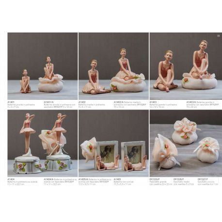 scatola in resina con ballerina in piedi con fazzoletto in retina e fiorellini linea Ballet (A1404-A)