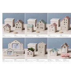 Casetta piccola in porcellana bianca e rosa con scatola linea Home Sweet Home (A1806)
