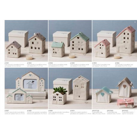Cornice Portafoto piccola a forma di casetta in porcellana bianca e verde con scatola linea Home Sweet Home (A1807)