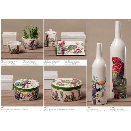 Vaso piccolo a bottiglia con tucano in porcellana decorata con scatola linea Jungle (A2401)