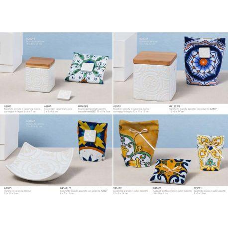 Barattolo quadrato piccolo in ceramica bianca con tappo in legno linea Positano (A2801)