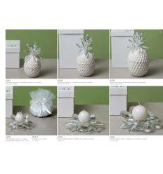 Ananas piccolo portagioie in porcellana bianca com ciuffo in cristallo con astuccio (A3201)