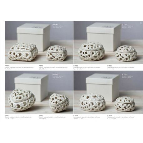 Scatola tonda grande in porcellana bianca traforata linea Little Box (P3902)
