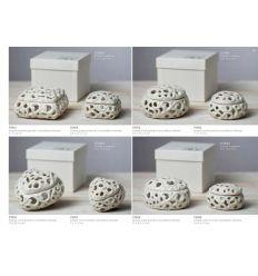Scatola tonda piccola in porcellana bianca traforata linea Little Box (P3906)