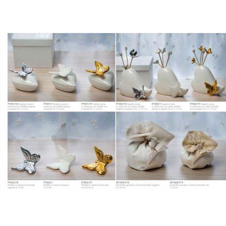 Scatola in ceramica a forma di cuore con farfallina con astuccio linea Butterfly (P7001)