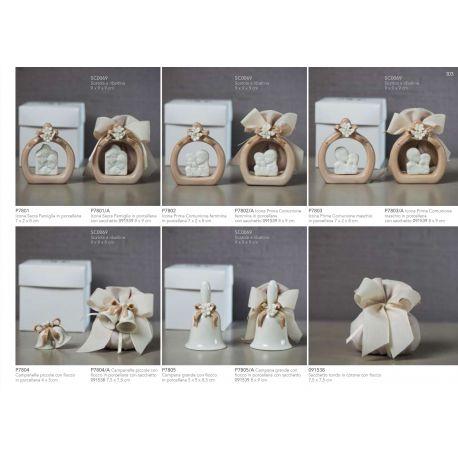 Campanelle piccole in porcellana bianca con fiocco color fango e fiorellini con sacchettino in cotone linea Ribbon (P7804-A)