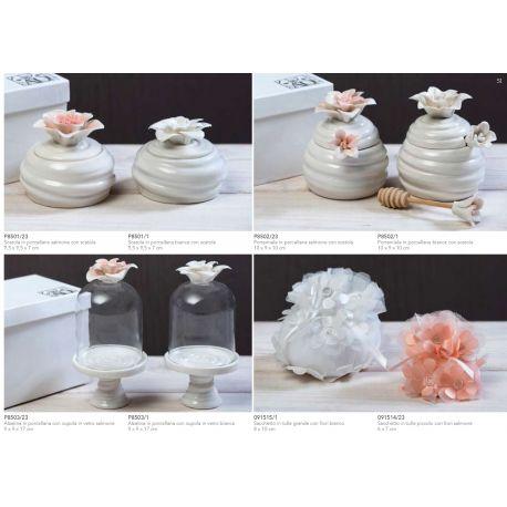 Scatola in porcellana con fiore bianco con astuccio linea Giglio (P8501-1)