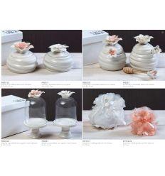 Portamiele in porcellana con fiore color sal con astuccio linea Giglio (P8502-23)