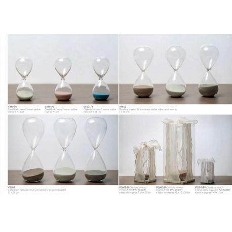 Clessidra grande in vetro con sabbia colorata con scatolina PVC e fascia in organza linea Tempo (V8603-B)