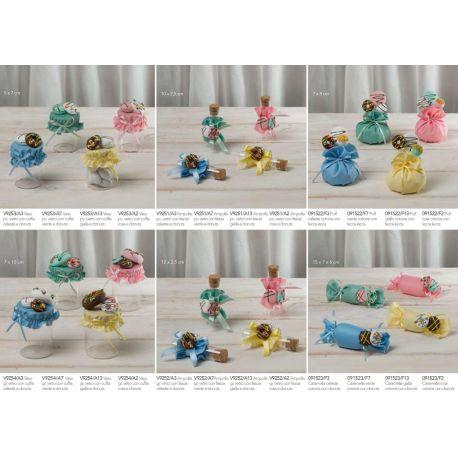 Portaconfetti Ampollina in vetro piccola con tappo di sughero decorata con biscottini in polistirolo linea Candy (V9251-A)