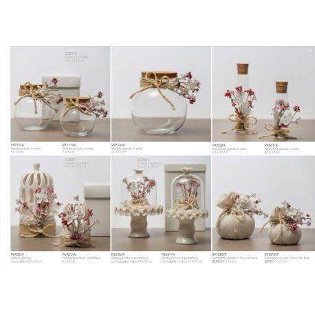 Portaconfetti Ampollina in vetro piccola con tappo di sughero decorata con raffia e fiorellini linea Pepe Rosa (V9261-A)