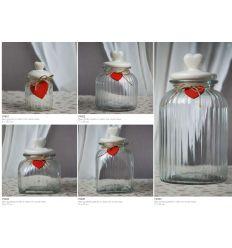 Barattolo quadrato in vetro rigato con coperchio in ceramica e cuoricino rosso in legno linea Good Morning (V9405)