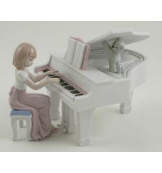 RAGAZZA AL PIANO-CARILLON 14X14X10 (D7515)